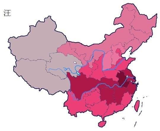 看看美国人做的中国姓氏分布地图